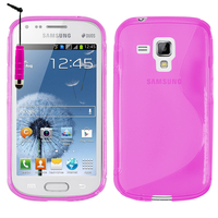 Samsung Galaxy Trend S7560/ Galaxy S Duos S7562: Accessoire Housse Etui Pochette Coque S silicone gel + mini Stylet - ROSE