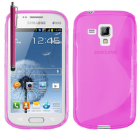 Samsung Galaxy Trend S7560/ Galaxy S Duos S7562: Accessoire Housse Etui Pochette Coque S silicone gel + Stylet - ROSE