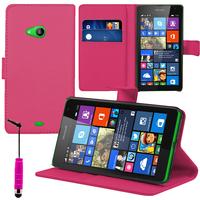 Microsoft Nokia Lumia 535/ 535 Dual SIM: Accessoire Etui portefeuille Livre Housse Coque Pochette support vidéo cuir PU + mini Stylet - ROSE