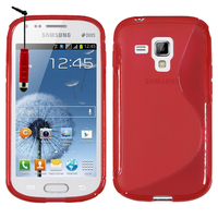Samsung Galaxy Trend S7560/ Galaxy S Duos S7562: Accessoire Housse Etui Pochette Coque S silicone gel + mini Stylet - ROUGE