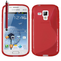Samsung Galaxy Trend S7560/ Galaxy S Duos S7562: Accessoire Housse Etui Pochette Coque S silicone gel + Stylet - ROUGE