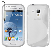 Samsung Galaxy Trend S7560/ Galaxy S Duos S7562: Accessoire Housse Etui Pochette Coque S silicone gel + mini Stylet - TRANSPARENT