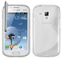 Samsung Galaxy Trend S7560/ Galaxy S Duos S7562: Accessoire Housse Etui Pochette Coque S silicone gel + Stylet - TRANSPARENT