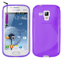 Samsung Galaxy Trend S7560/ Galaxy S Duos S7562: Accessoire Housse Etui Pochette Coque S silicone gel + mini Stylet - VIOLET