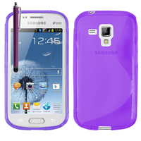 Samsung Galaxy Trend S7560/ Galaxy S Duos S7562: Accessoire Housse Etui Pochette Coque S silicone gel + Stylet - VIOLET