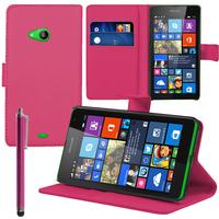 Microsoft Nokia Lumia 535/ 535 Dual SIM: Accessoire Etui portefeuille Livre Housse Coque Pochette support vidéo cuir PU + Stylet - ROSE