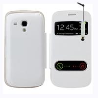 Samsung Galaxy Trend S7560/ Galaxy S Duos S7562: Accessoire Coque Etui Housse Pochette Plastique View Case + mini Stylet - BLANC
