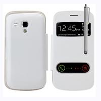 Samsung Galaxy Trend S7560/ Galaxy S Duos S7562: Accessoire Coque Etui Housse Pochette Plastique View Case + Stylet - BLANC