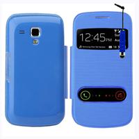 Samsung Galaxy Trend S7560/ Galaxy S Duos S7562: Accessoire Coque Etui Housse Pochette Plastique View Case + mini Stylet - BLEU