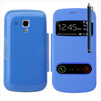 Samsung Galaxy Trend S7560/ Galaxy S Duos S7562: Accessoire Coque Etui Housse Pochette Plastique View Case + Stylet - BLEU