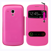 Samsung Galaxy Trend S7560/ Galaxy S Duos S7562: Accessoire Coque Etui Housse Pochette Plastique View Case + mini Stylet - ROSE