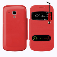 Samsung Galaxy Trend S7560/ Galaxy S Duos S7562: Accessoire Coque Etui Housse Pochette Plastique View Case + mini Stylet - ROUGE