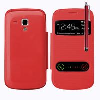 Samsung Galaxy Trend S7560/ Galaxy S Duos S7562: Accessoire Coque Etui Housse Pochette Plastique View Case + Stylet - ROUGE