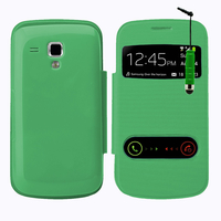 Samsung Galaxy Trend S7560/ Galaxy S Duos S7562: Accessoire Coque Etui Housse Pochette Plastique View Case + mini Stylet - VERT
