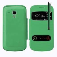 Samsung Galaxy Trend S7560/ Galaxy S Duos S7562: Accessoire Coque Etui Housse Pochette Plastique View Case + Stylet - VERT