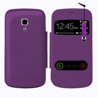 Samsung Galaxy Trend S7560/ Galaxy S Duos S7562: Accessoire Coque Etui Housse Pochette Plastique View Case + mini Stylet - VIOLET