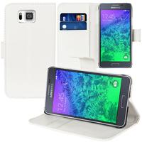 Samsung Galaxy Alpha SM-G850F/ Galaxy Alfa/ Alpha (S801)/ G850FQ G850Y G850A G850T G850M G850W G8508S: Accessoire Etui portefeuille Livre Housse Coque Pochette support vidéo cuir PU - BLANC