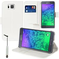 Samsung Galaxy Alpha SM-G850F/ Galaxy Alfa/ Alpha (S801)/ G850FQ G850Y G850A G850T G850M G850W G8508S: Accessoire Etui portefeuille Livre Housse Coque Pochette support vidéo cuir PU + mini Stylet - BLANC