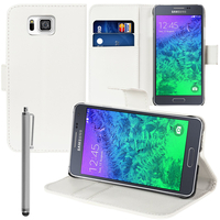 Samsung Galaxy Alpha SM-G850F/ Galaxy Alfa/ Alpha (S801)/ G850FQ G850Y G850A G850T G850M G850W G8508S: Accessoire Etui portefeuille Livre Housse Coque Pochette support vidéo cuir PU + Stylet - BLANC