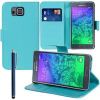 Samsung Galaxy Alpha SM-G850F/ Galaxy Alfa/ Alpha (S801)/ G850FQ G850Y G850A G850T G850M G850W G8508S: Accessoire Etui portefeuille Livre Housse Coque Pochette support vidéo cuir PU + Stylet - BLEU