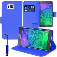 Samsung Galaxy Alpha SM-G850F/ Galaxy Alfa/ Alpha (S801)/ G850FQ G850Y G850A G850T G850M G850W G8508S: Accessoire Etui portefeuille Livre Housse Coque Pochette support vidéo cuir PU + mini Stylet - BLEU FONCE