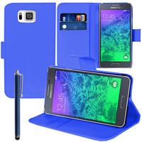 Samsung Galaxy Alpha SM-G850F/ Galaxy Alfa/ Alpha (S801)/ G850FQ G850Y G850A G850T G850M G850W G8508S: Accessoire Etui portefeuille Livre Housse Coque Pochette support vidéo cuir PU + Stylet - BLEU FONCE