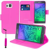Samsung Galaxy Alpha SM-G850F/ Galaxy Alfa/ Alpha (S801)/ G850FQ G850Y G850A G850T G850M G850W G8508S: Accessoire Etui portefeuille Livre Housse Coque Pochette support vidéo cuir PU + mini Stylet - ROSE
