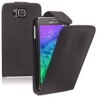 Samsung Galaxy Alpha SM-G850F/ Galaxy Alfa/ Alpha (S801)/ G850FQ G850Y G850A G850T G850M G850W G8508S: Accessoire Etui Housse Coque Pochette simili cuir - NOIR