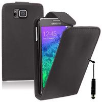 Samsung Galaxy Alpha SM-G850F/ Galaxy Alfa/ Alpha (S801)/ G850FQ G850Y G850A G850T G850M G850W G8508S: Accessoire Etui Housse Coque Pochette simili cuir + mini Stylet - NOIR