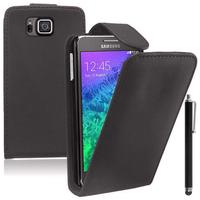 Samsung Galaxy Alpha SM-G850F/ Galaxy Alfa/ Alpha (S801)/ G850FQ G850Y G850A G850T G850M G850W G8508S: Accessoire Etui Housse Coque Pochette simili cuir + Stylet - NOIR