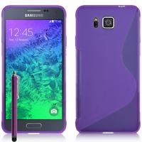 Samsung Galaxy Alpha SM-G850F/ Galaxy Alfa/ Alpha (S801)/ G850FQ G850Y G850A G850T G850M G850W G8508S: Accessoire Housse Etui Pochette Coque S silicone gel + Stylet - VIOLET