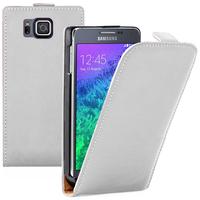 Samsung Galaxy Alpha SM-G850F/ Galaxy Alfa/ Alpha (S801)/ G850FQ G850Y G850A G850T G850M G850W G8508S: Accessoire Housse coque etui cuir fine slim - BLANC