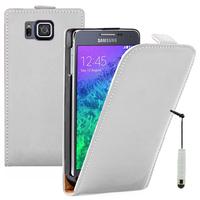 Samsung Galaxy Alpha SM-G850F/ Galaxy Alfa/ Alpha (S801)/ G850FQ G850Y G850A G850T G850M G850W G8508S: Accessoire Housse coque etui cuir fine slim + mini Stylet - BLANC