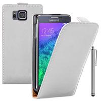 Samsung Galaxy Alpha SM-G850F/ Galaxy Alfa/ Alpha (S801)/ G850FQ G850Y G850A G850T G850M G850W G8508S: Accessoire Housse coque etui cuir fine slim + Stylet - BLANC