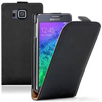 Samsung Galaxy Alpha SM-G850F/ Galaxy Alfa/ Alpha (S801)/ G850FQ G850Y G850A G850T G850M G850W G8508S: Accessoire Housse coque etui cuir fine slim - NOIR