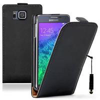 Samsung Galaxy Alpha SM-G850F/ Galaxy Alfa/ Alpha (S801)/ G850FQ G850Y G850A G850T G850M G850W G8508S: Accessoire Housse coque etui cuir fine slim + mini Stylet - NOIR
