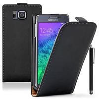 Samsung Galaxy Alpha SM-G850F/ Galaxy Alfa/ Alpha (S801)/ G850FQ G850Y G850A G850T G850M G850W G8508S: Accessoire Housse coque etui cuir fine slim + Stylet - NOIR