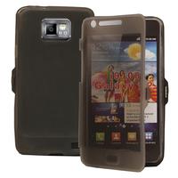 Samsung Galaxy S2 i9100/ i9105G/ Plus: Accessoire Coque Etui Housse Pochette silicone gel Portefeuille Livre rabat - GRIS