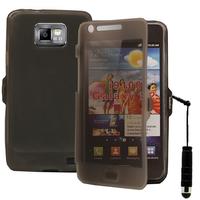 Samsung Galaxy S2 i9100/ i9105G/ Plus: Accessoire Coque Etui Housse Pochette silicone gel Portefeuille Livre rabat + mini Stylet - GRIS