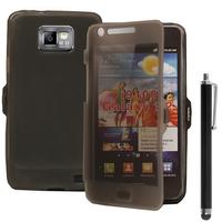 Samsung Galaxy S2 i9100/ i9105G/ Plus: Accessoire Coque Etui Housse Pochette silicone gel Portefeuille Livre rabat + Stylet - GRIS