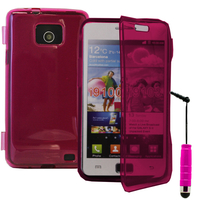 Samsung Galaxy S2 i9100/ i9105G/ Plus: Accessoire Coque Etui Housse Pochette silicone gel Portefeuille Livre rabat + mini Stylet - ROSE