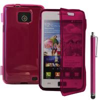 Samsung Galaxy S2 i9100/ i9105G/ Plus: Accessoire Coque Etui Housse Pochette silicone gel Portefeuille Livre rabat + Stylet - ROSE