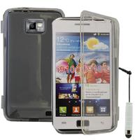 Samsung Galaxy S2 i9100/ i9105G/ Plus: Accessoire Coque Etui Housse Pochette silicone gel Portefeuille Livre rabat + mini Stylet - TRANSPARENT