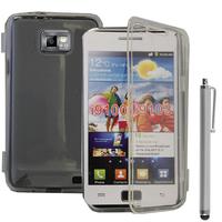 Samsung Galaxy S2 i9100/ i9105G/ Plus: Accessoire Coque Etui Housse Pochette silicone gel Portefeuille Livre rabat + Stylet - TRANSPARENT
