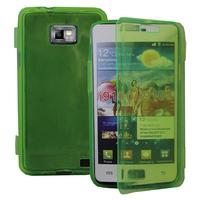 Samsung Galaxy S2 i9100/ i9105G/ Plus: Accessoire Coque Etui Housse Pochette silicone gel Portefeuille Livre rabat - VERT