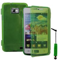 Samsung Galaxy S2 i9100/ i9105G/ Plus: Accessoire Coque Etui Housse Pochette silicone gel Portefeuille Livre rabat + mini Stylet - VERT