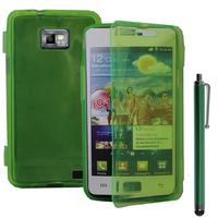 Samsung Galaxy S2 i9100/ i9105G/ Plus: Accessoire Coque Etui Housse Pochette silicone gel Portefeuille Livre rabat + Stylet - VERT