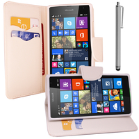 Microsoft Nokia Lumia 535/ 535 Dual SIM: Accessoire Etui portefeuille Livre Housse Coque Pochette support vidéo cuir PU effet tissu + Stylet - BLANC