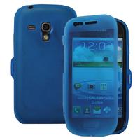 Samsung Galaxy S3 mini i8190/ i8200 VE: Accessoire Coque Etui Housse Pochette silicone gel Portefeuille Livre rabat - BLEU