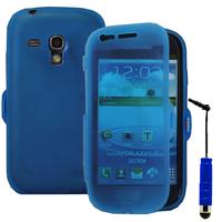 Samsung Galaxy S3 mini i8190/ i8200 VE: Accessoire Coque Etui Housse Pochette silicone gel Portefeuille Livre rabat + mini Stylet - BLEU